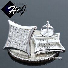 MEN 925 STERLING SILVER SQUARE 13MM LAB DIAMOND ICED SCREW BACK STUD EARRING*E98