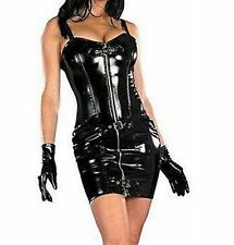 Sexy Black Glossy Faux Latex Dress Zip Down Front Adjustable Straps Buckles
