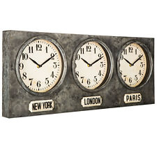 New York, London & Paris Galvanized Metal Wall ClockHome Office New