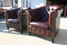 A Pair of Chesterfield Tub Chairs  100% Genuine Leather  Ox-Blood