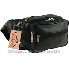 Quality Mens Ladies LARGE LEATHER Black Waist BUMBAG Travel OAKRIDGE Fanny Pack