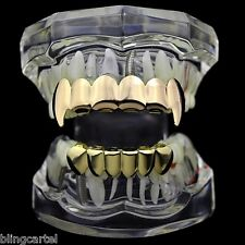 Vampire Grillz Set Gold Finish Dracula Tooth Top Bottom Fang Teeth Hip Hop Fangs