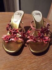 WILLS FANCY Sexy Strappy Sandals Floral Pink/Coral/Peach High Heel Size 7.5 M