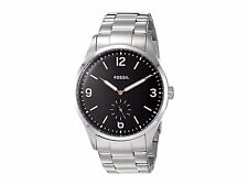 Fossil FS5245 Vintage 54 Silver Stainless Steel Black Dial Men's 42mm Watch NEW
