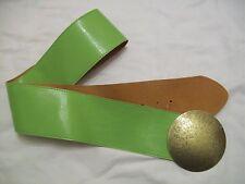 light green wide shiney pu belt tan underside large metal disc 50'' (JJK.533.13)