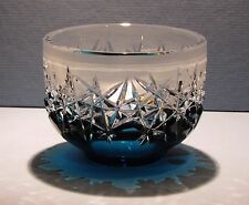 CAESAR CRYSTAL Azure Blue Bowl Hand Cut to Clear Overlay Czech Bohemian Cased