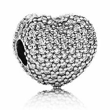 New Authentic Pandora Charm Bead Pave' Open My Heart Clip 791427CZ