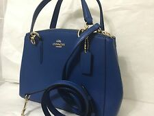 NWT COACH MINI CHRISTIE CARRYALL IN CROSSGRAIN LEATHER Denim Blue