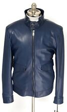 New BRIONI Italy Navy Blue Leather Zip Driving Jacket Coat 54 XL L NWT $6500!