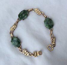 Vintage 12K 1/20 Gold Filled Green Cabochon Bracelet