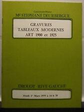 Catalogue de vente 1979 Drouot Rive gauche Salle N°9 gravures Tableaux 1900à1925