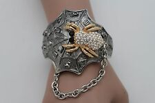 Women Jewelry Cuff Bracelet Silver Metal Skeleton Skulls Bling Web Gold Spider