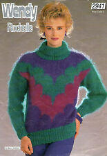 ~ Knitting Pattern For Lady's Roll-Neck Mohair Sweater To Knit ~