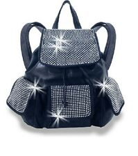NEW HANDBAG EXPRESS NAVY BLUE LEATHERETTE CRYSTAL DRAWSTRING BACKPACK+DUST BAG