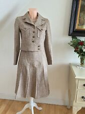 VINTAGE 60s TWEED SUIT BATTLEDRESS JACKET PLEATED MINI 1960s RETRO LONDON MOD A1