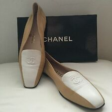 Vintage CHANEL  NAPPA Leather CC Logo Ballet Flats Shoes size 8 1/2 A