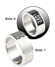 Rainbow Gay Pride Unconditional Love Design Stainless Steel Ring Sz 12.5