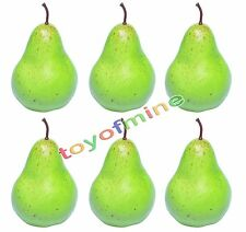 6 Pcs Artificial Pear Large - Plastic Decorative Fruit Green Pears Fake