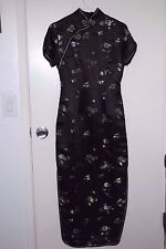 CHINESE WOMENS LONG FORMAL CHEONGSAM BLACK SATIN EMBROIDERY DRESS SIZE 36