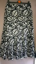 M&S black/white print cotton flounce hem midi skirt size 8