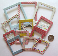 SCRAPBOOKING NO 124 - 12 DIE CUT CHIP BOARD FRAMES - MIXED COLOUR AND SIZES