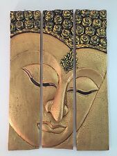 Buddha Face Gold Solid Wood Carving 3 Panels Large Thailand Hand Carved