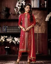 Designer Party wear Embroidery Salwar Suit Cotton Dress Material-Red