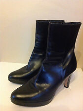 L.K.BENNETT stunning black ALL LEATHER heeled platform short boots 40 UK 6.5 - 7