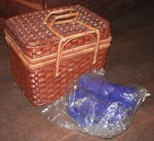 Picnic Basket & 4 Place Setting~21 pc~Wicker Rattan~Cloth Inside~Handles~Square