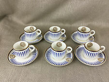 Antique Coffee Cups & Saucers Jockey Club Armorial Horse Racing Antique Set of 6