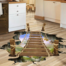 3D Bridge Floor Wall Stickers Removable Mural Decals Vinyl Art Living Home Decor