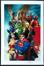 JUSTICE LEAGUE #1 ART PRINT by MICHAEL TURNER & PETER STEIGERWALD  / HTF