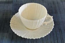 Irish BELLEEK Yellow TRIDACNA, 3rd Black Mark 1926-46 ~ Cup & Saucer
