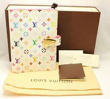 Authentic LOUIS VUITTON White Multicolor Monogram Agenda Parutoneru PM Cover