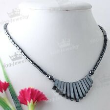 1x Magnetic Hematite Bead Gemstone Charm Pendant Jewelry Necklace Chain 18L Gift