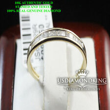 10K YELLOW GOLD PRINCESS CUT GENUINE 1/5CTW LADIES WOMEN'S WEDDING BAND RING NEW