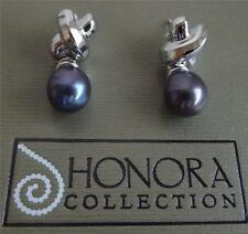 HONORA BLACK FRESHWATER PEARL STERLING SILVER  DROP EARRINGS NEW BOXED BAG QVC