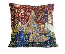Lady and Unicorn - Taste Belgian Medieval Unicorn Tapestry Pillow Cushion Cover
