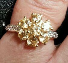 Ceylon Imperial Garnet & White Zircon 9ct Gold Ring Hallmarked 1.86cts Size N-O