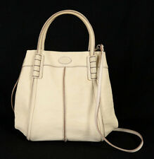 TOD'S Ivory Leather Small SHADE Satchel Tote Bag w/ Strap