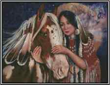 Counted Cross Stitch NATIVE AMERICAN Girl with Horse COMPLETE KIT # 21-117