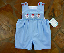 NEW Remember Nguyen Smocked Santa 6 mths Boys Christmas Romper Months Mo.
