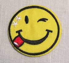 ÉCUSSON PATCH BRODÉ thermocollant - SMILEY TÊTE RONDE CLIN D'OEIL - 5 cm