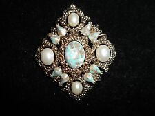 Sarah Cov Gold Tone Pin Brooch Signed Vintage Antique Imitation Pearl Stone CHIC