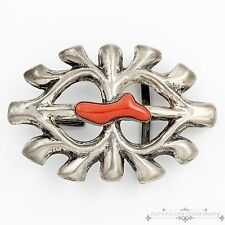 Vintage Navajo Native Indian Sterling Silver Red Coral Heavy Belt Buckle!