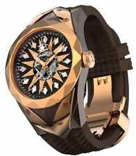 New Watchstar Super Star Skeleton Dial Rose Gold Automatic Open Heart Watch