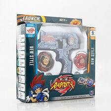 Blue METAL FUSION Hybrid Wheel Fight Attack Double Launcher +2 Beyblade Set Toys