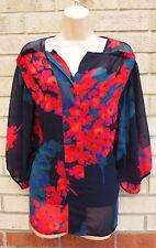 PER UNA PURPLE MULTI COLOR FLORAL BAGGY SLIM IN  BLOUSE  TOP T SHIRT TUNIC 12 M