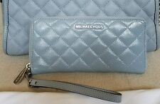 NWT MICHAEL KORS DUSTY BLUE QUILTED LEATHER TRAVEL CONTINENTAL CLUTCH ZIP WALLET