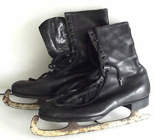 Embekay vintage ice skates UK size 9 Leather skating boots Mobbs Bros c 1930s